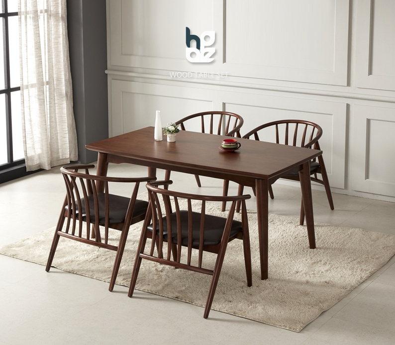 WOODEN DINING TABLE WITH 4 CHAIR